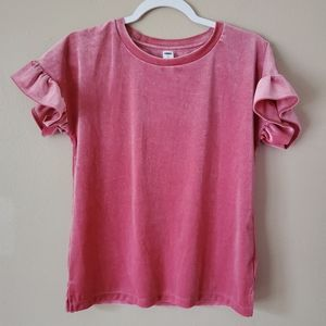 Old Navy Pink Sparkly Ruffled Short Sleeve Blouse